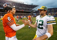 Rodgers was distressed by Cutler's insistence that they thumb-wrestle for command of the NFC North. Nfc North, Jay Cutler, Defensive Back, Aaron Rodgers, Fantasy Football, Chicago Bears, Football Season, Green Bay Packers, Cardinals
