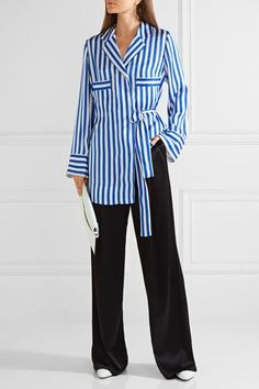 By Malene Birger - Lanfi Striped Satin Blouse - Blue - DK
