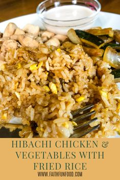 Hibachi Chicken & Vegetables With Fried Rice A delicious version of Japanese Hibachi food that you can make right at home. Fried rice with a side of Hibachi chicken, zucchini and onions, served with a side of Japanese white sauce. Rice Recipes, Asian Recipes, Chicken Recipes, Healthy Recipes, Hibachi Chicken And Vegetables Recipe, Recipes With Zucchini, Japanese Food Recipes, Sauteed Vegetables, Mexican Recipes
