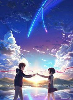 Anime Backgrounds Wallpapers Your Name - Anime Your Name Movie, Your Name Anime, Your Name Wallpaper, Cute Anime Wallpaper, Couple Wallpaper, Sky Anime, Anime Galaxy, Anime Backgrounds Wallpapers, Animes Wallpapers