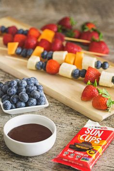 Have you ever tried a Fruit Kebob?  They are AMAZING and so easy to make!  Melt a Sun Cup on the stove or in the microwave for a great dipping partner :)