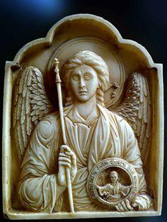 Egolpion  Archangel Michael hand made relief by Vangellis Tsoubris
