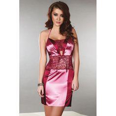 Kleidchen aus Satin mit Spitze Priya in Pink