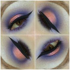 sleepologist The purples are a blend of: (all mac) pompous blue, purple haze, parfait amour, and beautiful iris.