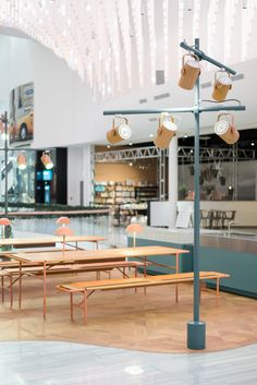 Stockholm-based Note Design Studio has created minimal furniture for live cooking demonstrations at the newly opened Mall of Scandinavia Note Design Studio, Notes Design, Cafe Design, Commercial Interior Design, Commercial Interiors, Shelf Furniture, Furniture Design, Stockholm, World Decor