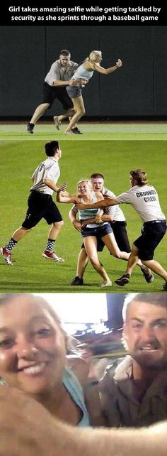 Girl takes a selfie while getting tackled by security at a baseball game.