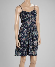 Another great find on #zulily! Navy & Pink Floral A-Line Dress by Triple Five Soul #zulilyfinds