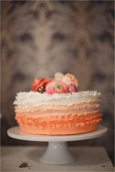 ruffle peach ombre wedding cake by Sweet Story Bakery at Bella Via venue