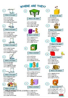 prepositions of place worksheet - Free ESL printable worksheets made by teachers Kids English, English Tips, English Study, English Words, English Lessons, Learn English, French Lessons, Spanish Lessons, Learn French