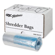 GBC Shred Bags for GBC ShredMaster Shredder Models, 100-Pack, Clear (1765016) by GBC. $27.84. GBC is a world leader in products that help consumers present, protect, secure, organize and enhance their printed materials.  GBC Shredders and Shred Bags bring security to homes and offices at a time when information protection is vital.  These strong, tear-resistant, see-through plastic bags are made specifically for use with the GBC ShredMaster Shredders.  Easy to ...