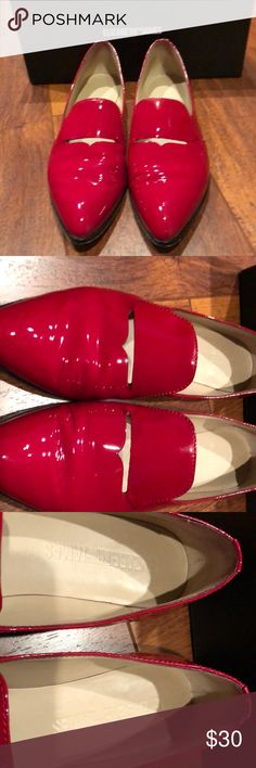 Elizabeth and James Red Patent Leather Loafers Shiny patent leather loafers with a cutout and pointed toe. Worn a couple times but in great condition. Elizabeth and James Shoes