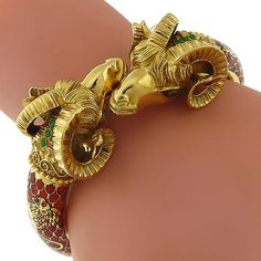 Estate_Cabochon_Emerald_Red_Enamel__18k_Yellow__Gold__Double_Ram_Heads_Cuff__Bangle | New York Estate Jewelry | Israel Rose