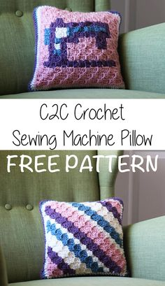 Free C2C (corner 2 corner) Crochet graph and pattern for this cute sewing machine pillow! Super easy and fun!