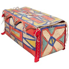 Rare Antique Native American Painted Parfleche Box, Plateau, 19th Century | From a unique collection of antique and modern boxes at https://www.1stdibs.com/furniture/decorative-objects/boxes/ ●●fuzz slaps face. I had *22* antique boxes & envelops & sold them for a song.   DANG IT ●●