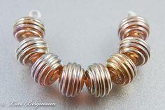 Handmade Ribbed Gold Metallic Lampwork Glass Beads by www.LoriBergmann.etsy.com