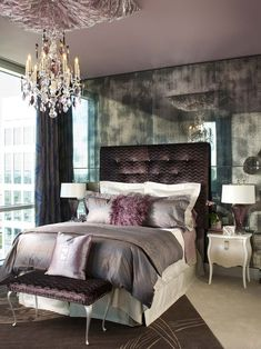 Urban glam - LOVE this shade of purple! LOVE purple velvet and throw pillow is so gorgeous!