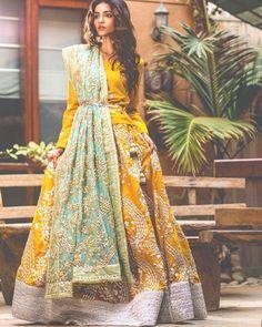 Sanober Azfar Lehenga Collection Spring16 features vibrant lehengas which are lightly embellished, making them ideal for Mehndi  #asian#pakistani#fashion#style#bridal#mehndi#pakistanvogue