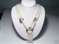 Noblest 4-Srd White FW Pearls Necklace