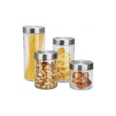 Home Basics 4 Piece Round Glass Canisters with Stainless Steel Airtight Screw On Lid Food Storage and More * Check this useful article by going to the link at the image. Storage Canisters, Glass Canisters, Kitchen Canisters, Storage Containers, Kitchenware, Food Containers, Kitchen Cabinets, Clear Glass, Round Glass