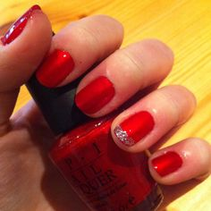 My Christmas tinsel nails :) -- with OPI affair in red square nail polish.