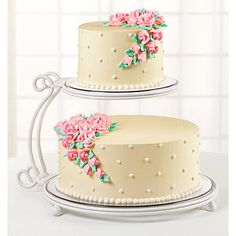 Wilton 2 Tier Floating Metal Cake Stand - I also have this one. It's also a creamy white, with clear plates. Wooden Wedding Cake Stand, 2 Tier Wedding Cakes, Square Wedding Cakes, Wedding Cake Stands, 2 Tier Cake Stand, Metal Cake Stand, Walmart Cake Prices, Fondant Cakes, Cupcake Cakes
