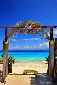 """The gate to paradise is wide open!""  Vrika beach, Antipaxos (""Antipaxi"") island, Ionian Sea, Eptanisa (""Seven Islands""), Greece."