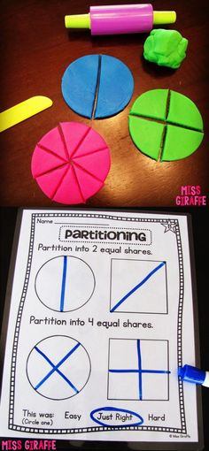 First grade fractions activities and ideas to practice partitioning shapes into equal parts. Splitting up the play dough to work on parts and whole. Geometry 2nd Grade Activities, Maths 3e, Fraction Activities, Primary Maths, Math Activities, Fraction Games, Math Games For Preschoolers, Fraction Art, Fun Math Games