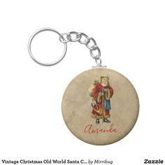 Vintage Christmas Old World Santa Claus Keychain Keep It Cleaner, Old World, Vintage Shops, Vintage Christmas, Holiday Cards, Cool Designs, Santa, Keychains, Personalized Items