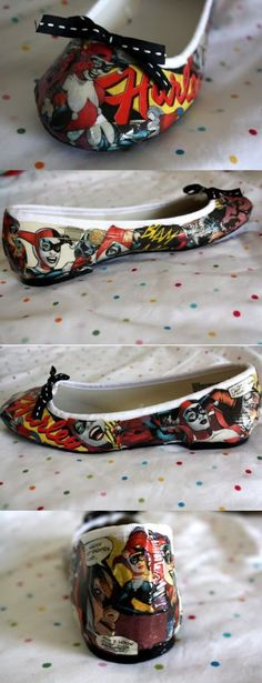 Harley Quinn Comic Shoes! - CLOTHING - Done with my Harley Quinn shoes!.