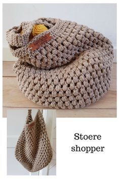 Stoere shopper gehaakt. Gratis patroon Crochet Wool, Crochet Stitches, Crochet Hats, Crochet Purses, Knit Fashion, Craft Sale, Needle And Thread, Sale Items, Tote Bag