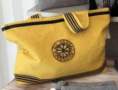 sac toile coton jaune motif métal, 3 petites rayures. Collection été 2014