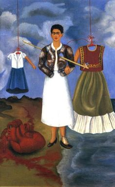 Frida Kahla (1907-1954)  Memory, 1937. In retaliation to Rivera's affair with her sister, Cristina, Kahlo stopped wearing Tijuana costumes & cut her hair. Beside her, in this painting, stand her alter egos: school girl clothes & Tijuana costume, both empty but equipped with 1 arm. Frida's armless, suggesting her impotence & her heart, huge because it feels too much, lies on the earth.