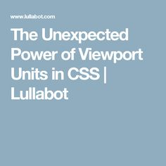 Viewport units are one of the lesser known gems in modern web design. They offer developers strong flexibility and accuracy when using CSS. Computer Coding, Modern Web Design, Design Tutorials, Design Ideas, Data Science, Web Development, The Unit, Education, Learning