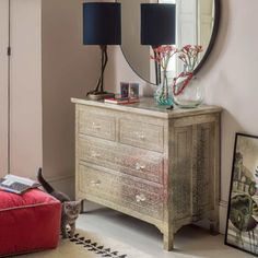 Embossed White Metal Chest of Drawers Chest Of Drawers, Decor, Metal Chest, Drawers, Furniture, Dresser As Nightstand, Indian Furniture, Inlay Furniture, White Metal