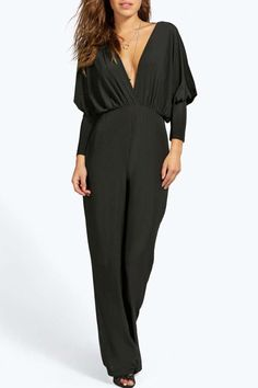 Solid Color Open Back Sexy Plunging Neck 3/4 Sleeve Jumpsuit For Women