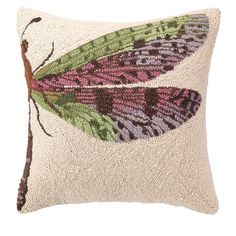 Hand-hooked wool pillow with a pink dragonfly motif.  Product: PillowConstruction Material: 100% Wool cover and ...