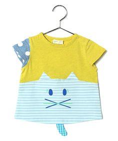 babycheer(ベイビーチアー)のウサネコ ハンソデTシャツ(Tシャツ/カットソー)|ライム