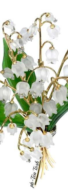 GLAM & LUXURY Jems  Carved Rock Crystal, Nephrite & Diamond Lily of the Valley Brooch