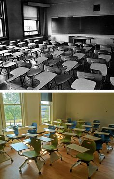 Then and Now at Marquette University: Johnston Hall classrooms in 1973 and in 2012 after summer renovations. 1973 photo source: Marquette University Archives.