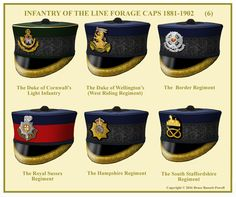 British; Line Infantry, Officer's Forage Caps 1881-1902. N.B The Duke of Cornwalls Light Infntry did not wear this type cap after 1897 and it is possible that the 2nd Battalion did not have the scroll below the bugle.