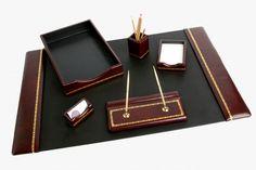 Hamilton Burgundy Leather Desk Set (6 Piece)