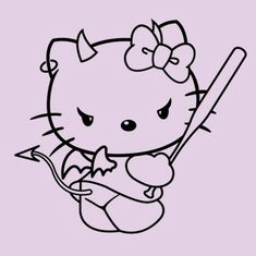 Cute Tattoos, Body Art Tattoos, Small Tattoos, Bad Girl Aesthetic, Pink Aesthetic, Arte Aries, Hello Kitty Tattoos, Hello Kitty Art, Doodle Tattoo