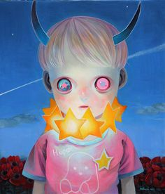 "hikari shimoda:  ""この星の子ども9"" Children of this planet 92013530×455mmoil on canvas"