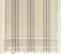 French Stripe Cordless Roman Shade   Windows flanking fireplace & matching valence above bay window