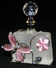 russian glass perfume bottles | Retro metal pink crystals glass Perfume scent bottle