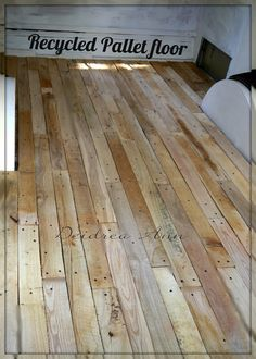 Love the look: RECYCLED Pallet WOOD FLOORING (which looks lovely, but REAL pallets are basically giant wads of splinters solidified by malice)