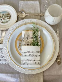 Sheet Music Utensil Pockets from Bespoke Decor dot store. Holiday Table Decorating – Styled & Set Stunning Holiday Table Decorating Ideas including centerpiece, runner, utensil pockets, placecard and a neutral palette. Be inspired for your holiday table! Christmas Tabletop, Christmas Table Centerpieces, Holiday Tables, Christmas Decorations To Make, Table Decorations For Wedding, Wedding Decor, Sheet Music Decor, Sheet Music Crafts, Music Sheets