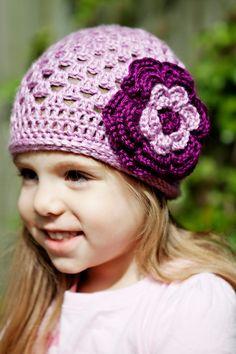 Toddler Lavender Crochet Spring Beanie With Detachable Flower. $18.00, via Etsy.