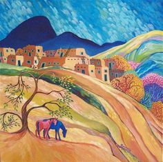 Pueblita (Little Pueblo) by Sally Bartos, New Mexico artist. Her work is available from bartos on Etsy.