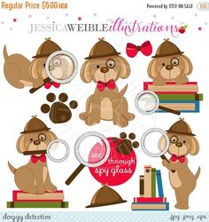 SALE Doggy Detective Digital Clipart - Commercial Use OK - Clue Dog, Spy Dog, Detective Clipart, Cute Dog Detective Graphics